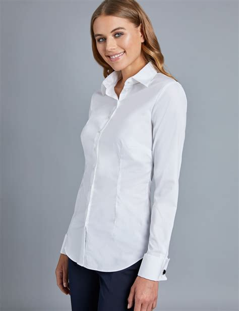White Shirt Womens by S White Fitted Cotton Stretch Shirt Cuffs Hawes Curtis