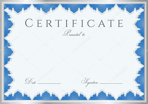 blue certificate template blue certificate of completion template or sle