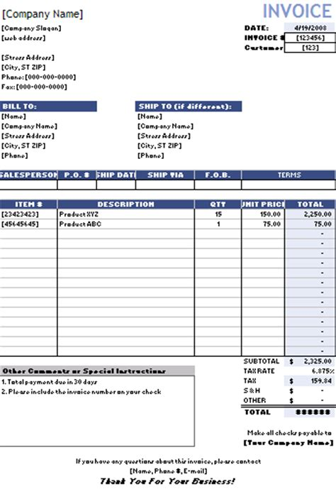 sales invoice template excel free financial templates sales invoice template