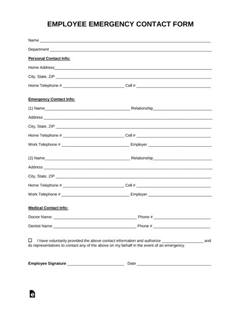 Free Employee Emergency Contact Form Pdf Word Eforms Free Fillable Forms Emergency Contact Form Template
