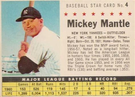 Baseketball Mickey 2358 1961 Post Cereal Mickey Mantle 4p Baseball Card Value