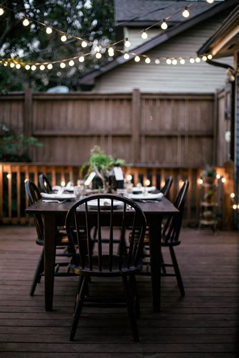 outdoor patio string lighting  seating areas