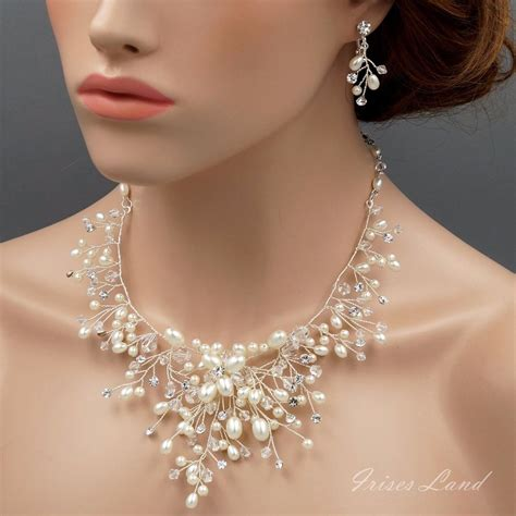 braut collier pearl crystal wire wrapped necklace earrings bridal