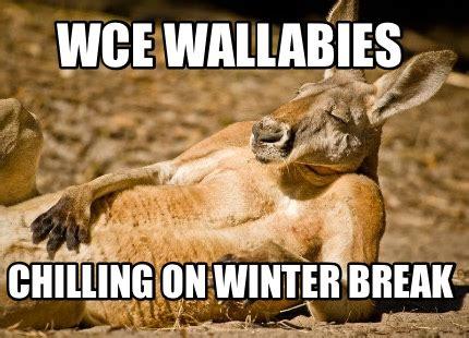 Winter Break Meme - meme creator wce wallabies chilling on winter break meme