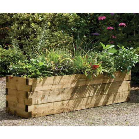 6 x 1 5 ft medium rustic wooden garden planter raised bed