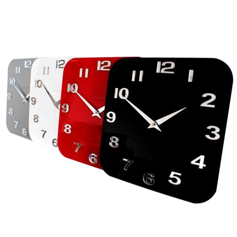 kitchen clocks modern gloss white black silver modern kitchen retro wall