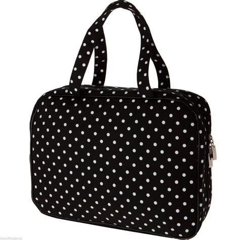 large black spotty cosmetic bag make up hanging