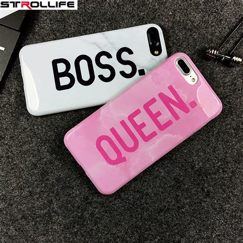 strollife cartoon letters queen boss phone cases  iphone  case glossy white marble