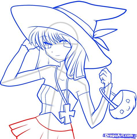 how to draw anime draw an anime witch anime witch step by step