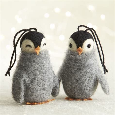wooly penguin ornaments contemporary christmas