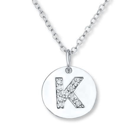 K Necklace letter quot k quot necklace 1 20 ct tw diamonds sterling silver