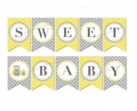 Yellow And Grey Owl Baby Shower by Baby Shower Banner Yellow Grey Owl Bumpandbeyonddesigns