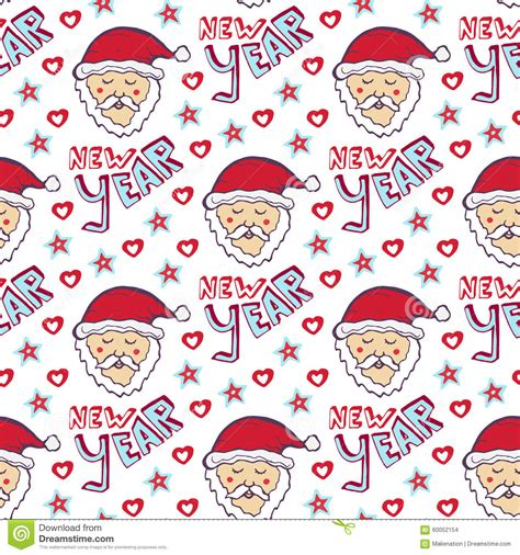 new year wrapping seamless pattern with santa claus and vector