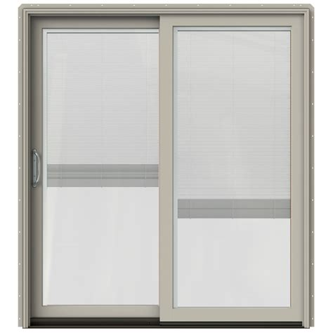 jeldwen patio doors shop jeld wen w 2500 71 25 in blinds between the glass desert sand wood sliding patio door with