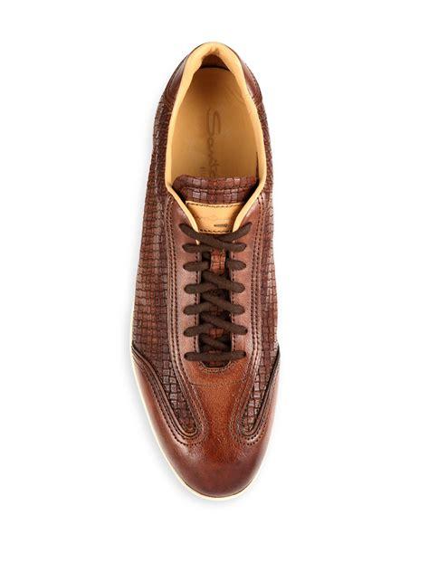 santoni slippers lyst santoni textured leather low top sneakers in brown