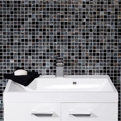 mosaic wall bathroom solanas contemporary black grey glass mosaic bathroom