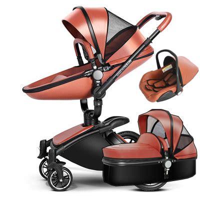 leather pushchair stroller 3 in 1 leather baby stroller set high landscape stroller