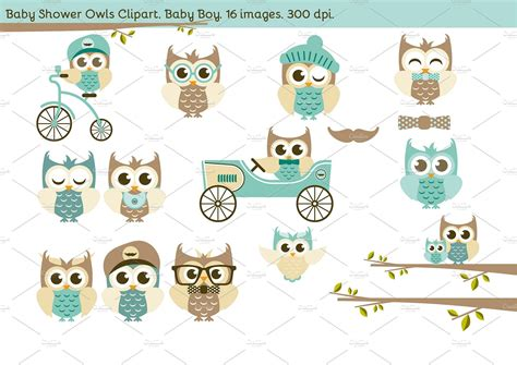 Baby Owl Shower by Baby Shower Owls Baby Boy Illustrations Creative Market