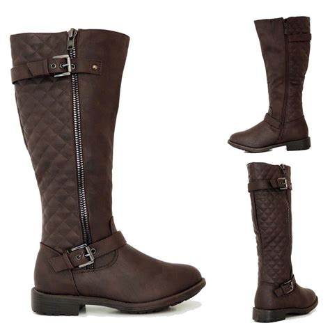 womens fashion knee high boots flat heel shoes faux