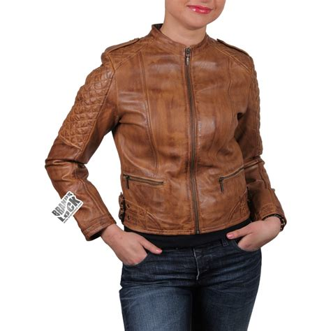 ladies brown biker women brown leather biker jacket madisson
