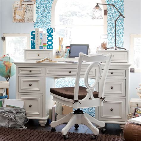 White And Blue Girls Desk In Bedroom Decobizz Com White Desks For Bedrooms