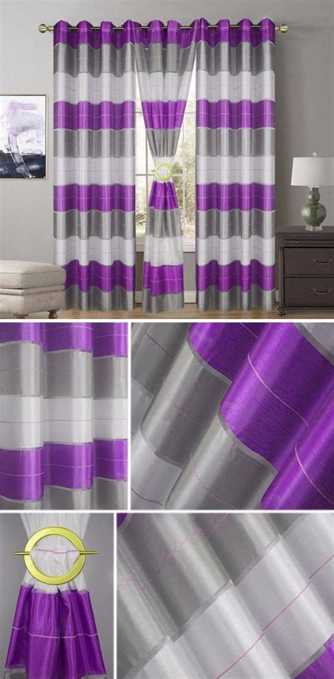 curtains 145 cm drop striped curtain ring top fully lined eyelet curtains