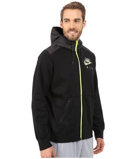 lyst nike aw77 fleece zip hoodie hybrid in black