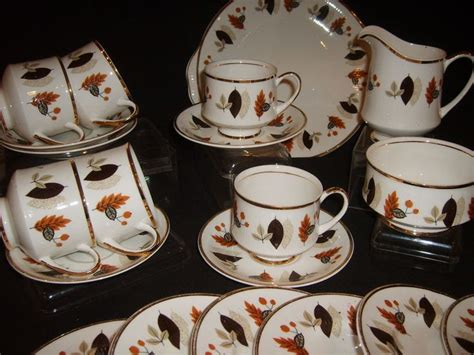leaf pattern dinnerware set sheriden english bone china retro 1970s tea set 21 pieces