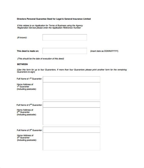personal guarantee form template sle personal guarantee form 9 free