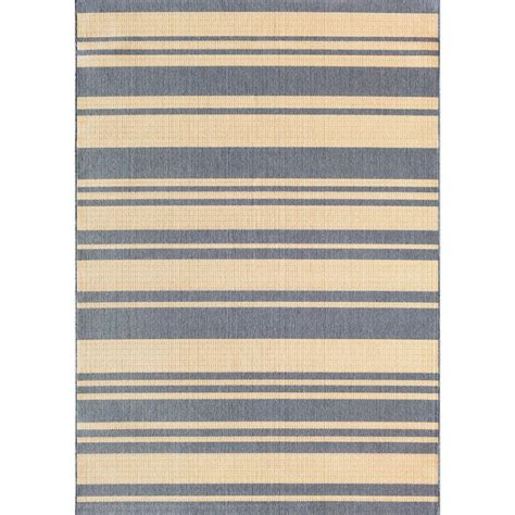 Hton Bay Stripe Ivory Blue 5 Ft 3 In X 7 Ft 4 In Hton Bay Indoor Outdoor Rugs
