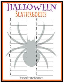 Christmas Table Party Games - halloween scattergories