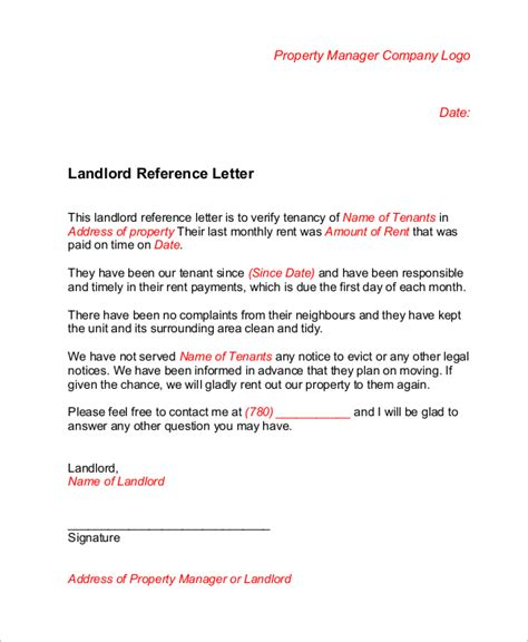Asking Landlord For Reference Letter Sle Landlord Reference Letter 6 Exles In Word Pdf