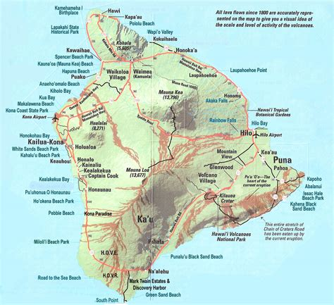 map of big large detailed map of big island of hawaii with roads and