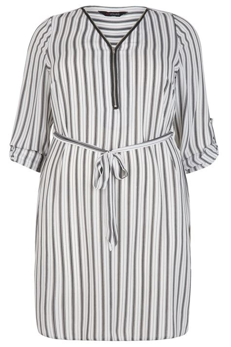 B18 Dress Zip White Stripe black white stripe zip front dress with waist tie plus size 14 to 32
