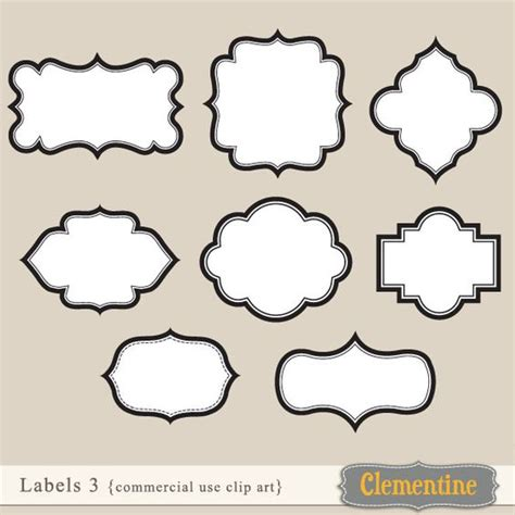 Fancy Card Shape Template by 8 Clip Labels For Use For Cards Or
