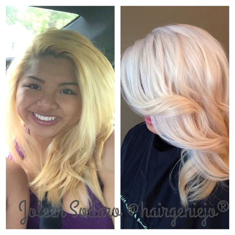 before orange brassy hair after beautiful ash blonde my hair color correction brassy mess to level 10 platinum