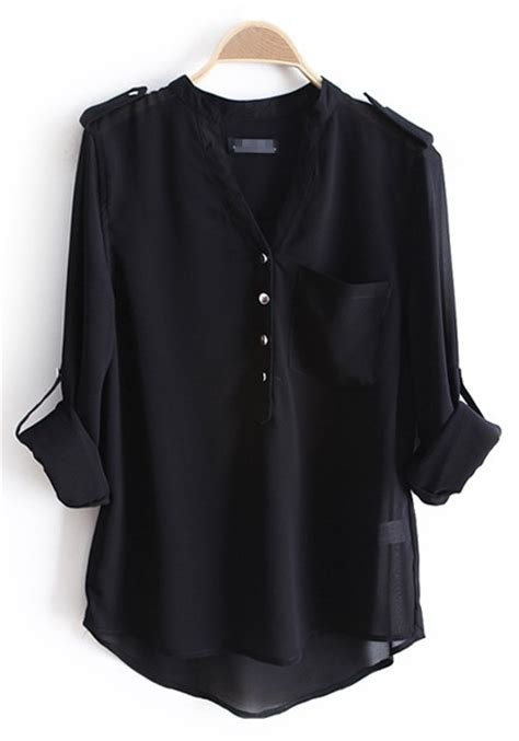 Black Blouse black epaulet buttons v neck pockets chiffon blouse