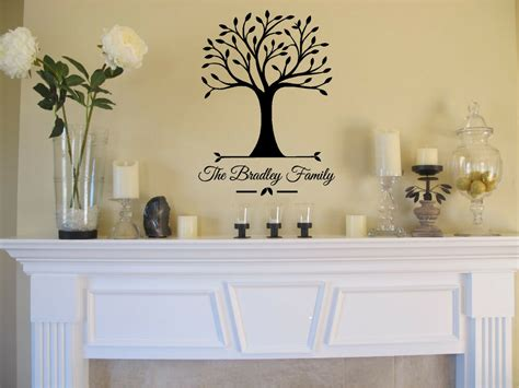 personalized home decor personalized family name tree wall sticker vinyl decals