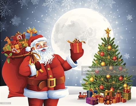 pictures of crismas tree and centaclaus santa claus with gifts and tree vector getty images