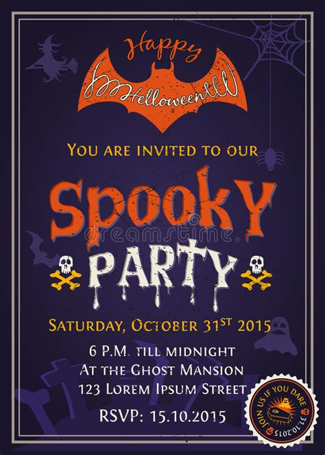 design halloween party invitation card spooky halloween party invitation card design stock vector