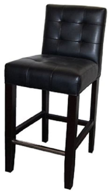 Black Leather Counter Height Chairs Low Back Tufted Leather Stool Black 26 Quot Counter Height