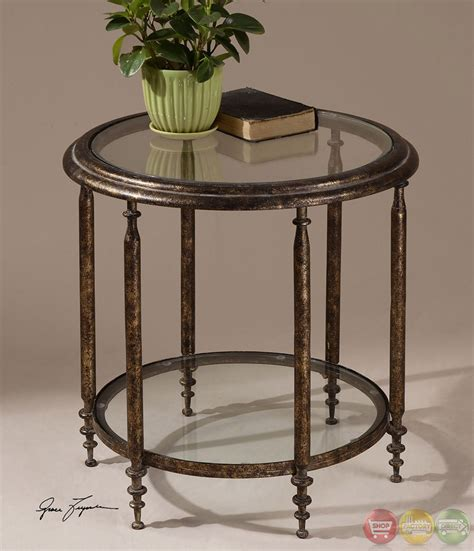 glass top accent table leilani antique gold finish glass top accent table 26011