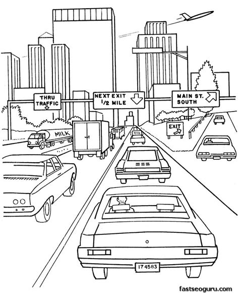 Highway Coloring Page printable coloring pages cars on highway printable