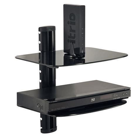 Audio Shelf Wall Mount by Peerless Dual Audio Glass Wall Shelf Eshv30