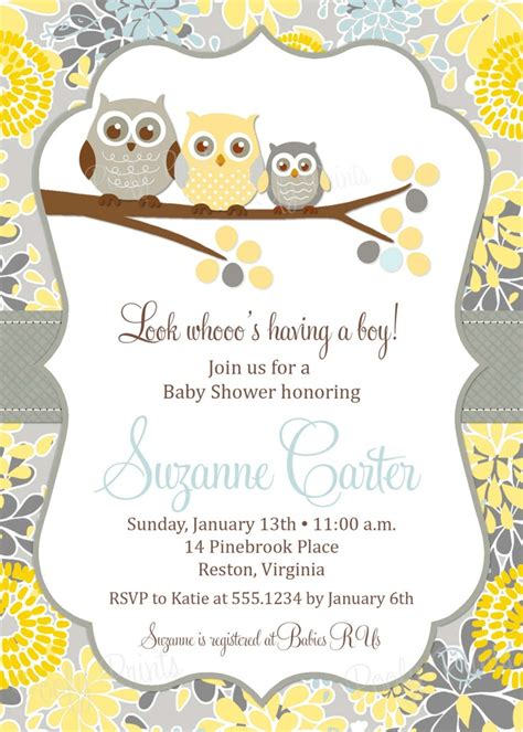 owl baby boy shower invitation printable baby shower