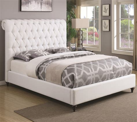coaster bed coaster devon 300526q queen upholstered bed in white fabric dunk bright furniture