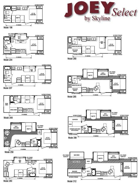 trailer floor plans skyline joey travel trailer floorplans