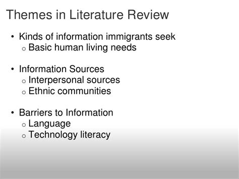 themes in immigrant literature information behavior of immigrants in the seattle area