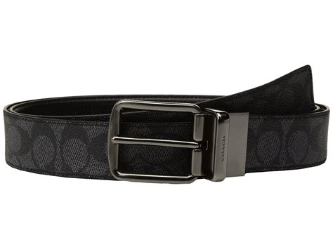 Belt Coach Wide Reversable Sign Embossed Black Original coach wide harness signature reversible belt at zappos