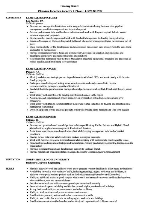 lead sales resume sles velvet